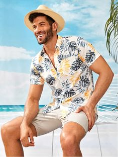 Men Tropical Print Curved Hem Shirt The Effective Pictures We Offer You About B. Men Tropical Print Curved Hem Shirt The Effective Pictures We Offer You About Beach Outfit bikinis Beach Outfit Plus Size, Teen Beach Outfit, Cold Beach Outfit, Fall Beach Outfits, Beach Outfits Women Plus Size, Casual Beach Outfit, Summer Outfits Men, Men Summer, Summer Beach