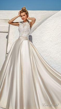 eva lendel 2017 bridal sleeveless jewel neckline heavily embellished bodice elegant romantic detachable satin skirt a  line wedding dress lace back royal train (talia) mv