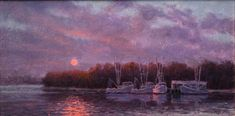 Martin Gallery MITCH  BILLIS SUNSET SHRIMPERS Oil Painters, Sunset, Gallery, Artwork, Painting, Work Of Art, Auguste Rodin Artwork, Painting Art, Paintings