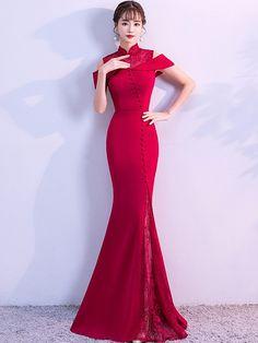 Wine Red Cold Shoulder Mermaid Qipao / Cheongsam Wedding Dress