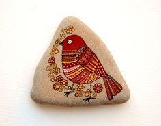 Reserved*** Hand Painted Stone Bird