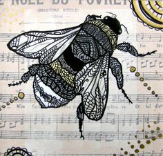Bee Art Print - Bumble Bee - Zentangle -  Archival - Yellow - Wings op Etsy, 11,32 €