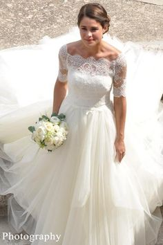 Lace Off-the-shoulder Wedding Dresses Ivory Tulle Skirt – loveangeldress Outdoor Wedding Dress, Wedding Dress Organza, Princess Wedding Dresses, Colored Wedding Dresses, Wedding Gowns, Lace Wedding, Wedding Skirt, Modest Wedding, Wedding Bells