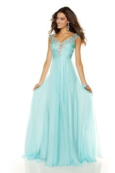 Aqua Satin & Chiffon Encrusted Deep V Off the Shoulder Long Evening Dress - Unique Vintage - Pinup, Holiday & Prom Dresses.