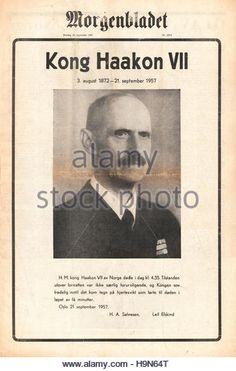 1957 Morgenbladet (Norway) front page Death of King Haakon VII - Stock Image