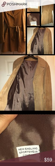 """SALESUEDE long coat in MUSTARD yellow! LikeNEW XL BUTTON DOWN softest SUEDE COAT L= 33"""" W= 44 ( very roomy) BUST = 42"""" with soft long SUEDE knot tie belt! Very versatile in size, slight padding in SHOULDERS ! Fits perfectly over bulky sweaters!!  NEW ENGLAND COAT CO. Jackets & Coats Trench Coats"""