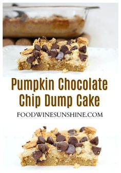 Easy Chocolate Chip Pumpkin Dump Cake | This Pumpkin Dump Cake is topped with chocolate chips and is filled with all your favorite fall spices. Make this easy cake recipe and enjoy it this Fall. #easyrecipes #dessertrecipes #pumpkin #recipe #cake #dessert Savory Pumpkin Recipes, Easy Cake Recipes, Healthy Dessert Recipes, Vegan Recipes Easy, Cupcake Recipes, Easy Desserts, Wine Recipes, Delicious Desserts, Sweet Desserts