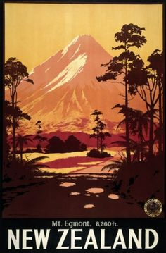 retro Mt Egmont, New Zealand illustrated poster. (Now Mt Taranaki) Pub Vintage, Photo Vintage, Vintage Art, New Zealand Art, New Zealand Travel, Vintage Travel Posters, Vintage Postcards, Tourism Poster, Kunst Poster