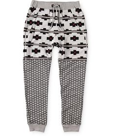 Update your jogger style with a black, white, grey, and red Tetris checkered print upper with a light grey and black triangle print lower legs.