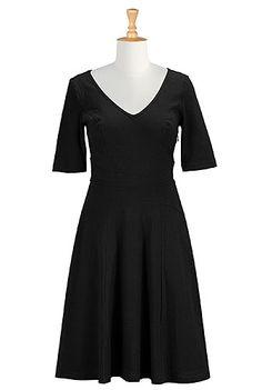 Cotton knit curved waist dress - black -   eShakti