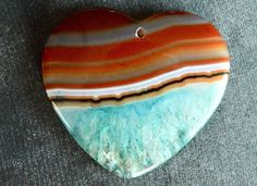 43mm Agate Pendant, Druzy Geode Agate Stone Heart Pendant, 43x40x6mm Natural Stone, Stone Heart Pendant Brown, Turquoise Blue Stone by TheBeadBandit on Etsy