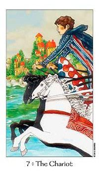 November 21 Tarot Card: The Chariot (Dreaming Way deck) Move forward with intention and be clear in your thoughts and actions. There's a lot of drive in you now, and if you move wisely, you can make some major progress Major Arcana Cards, Tarot Major Arcana, Tarot Card Decks, Tarot Cards, Medieval Symbols, The Chariot Tarot, Online Tarot, Tarot Card Meanings, Cartomancy