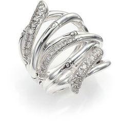 John Hardy Bamboo Diamond & Sterling Silver Wide Multi-Row Ring