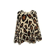 Leopard Mohair Round Neck Pullover Coffee ($43) ❤ liked on Polyvore featuring tops, sweaters, camisolas, shirts, long sleeve pullover shirts, loose sweater, brown sweater, loose long sleeve shirt and long sleeve pullover sweater