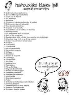 Checklist with chores that you often forget - Huisvlijt , Move In Cleaning, House Cleaning Checklist, Diy Cleaning Products, Cleaning Hacks, Organised Mum, Learning Organization, Organizing, Learn Dutch, Housekeeping Tips