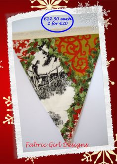 www.facebook.com/fabricgirldesigns Traditional sleigh themed bunting. 1.5 meters length, 100% cotton, fully lined, matching Christmas stockings available.
