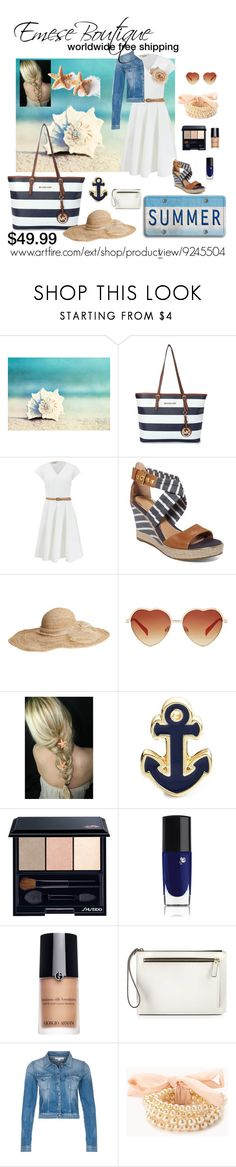 """""""FREE SHIPPING Michael Kors MK Jet Set Travel Blue White Striped $49.99"""" by emeseboutique ❤ liked on Polyvore featuring Michael Kors, Sperry, Flora Bella, Shiseido, Lancôme, Giorgio Armani, Rebecca Minkoff, Calvin Klein Jeans and Forever 21"""