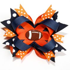 "2.5"" Mini Pick Your Own Football Colors Stacked Hair Bow..Chicago Bears Auburn"