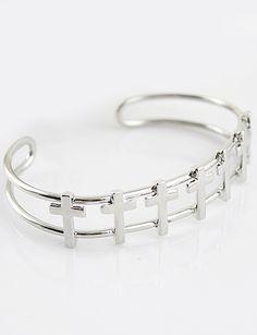 Silver Cross Hollow Bracelet