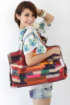 Image of Handmade Leather Women's Handbag Shoulder Bag in Splicing Leather/handmade bag