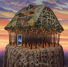 """Le toit du monde"" de Jacek Yerka"