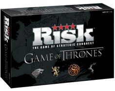 "Inspired by the hit HBO series and the classic game of Risk comes the Game of Thrones Risk board game. ""Like Risk, rally your troops, lead them across the globe, and rule the world. You'll need to carefully plan your strategy and face your opponents on the battle field. The game features two ways to play, including factions of noble Houses vying for control of Westeros during the time of The War of the Five Kings and Daenerys Targaryen's rise to power in Essos."""
