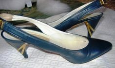 POLLINI NAVY & GOLD METAL ACCENTED SLING BACK SHOES!