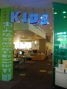 Entryway to a kids or teen department
