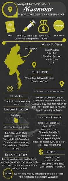 Divergent Travelers Travel Guide, With Tips And Hints To Myanmar. This is your ultimate travel cheat sheet to Myanmar. Click to see our full Myanmar Travel Guide from the Divergent Travelers Adventure Travel Blog and also read about all of the different adventures you can have in Myanmar at http://www.divergenttravelers.com/destinations/myanmar/