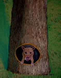 Grisens hem,pastell. The pig's home, pastel.