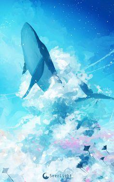 Sky Whale by SeerLight on DeviantArt Fantasy Landscape, Landscape Art, Fantasy Kunst, Fantasy Art, Pretty Art, Cute Art, Space Whale, Whale Drawing, Wallpaper Animes