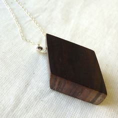Black Walnut Rhomboid Necklace - Version Two - The Salvaged Collection