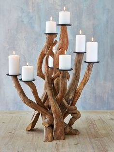 This strikingly beautiful driftwood candelabra will enchant everyone!
