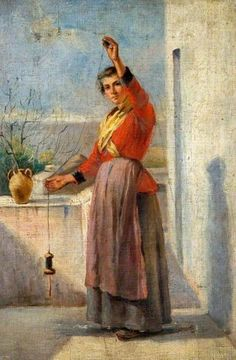 Woman Spinning by Margaret Thomas  Note the use of a double whorl spindle in high whorl spinning position,