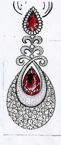 er Bridal Jewelry, Jewelry Art, Fine Jewelry, Fancy Jewellery, Jewellery Designs, Hand Embroidery Designs, Beaded Embroidery, Tattoo Painting, Jewelry Design Drawing