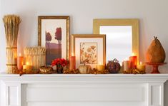 Modern and clean, this mantle lights up the space with plenty of autumn style.