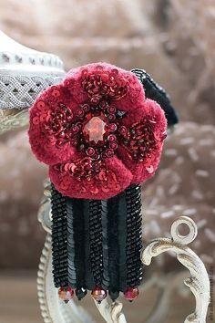 """Купить Браслет """" Кармен-сюита"""". - бордовый, браслет, браслет женский, цветок, стразы, романтика"""
