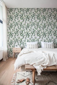 Removable Wallpaper, Cactus Wallpaper, Eucalyptus, Peel and Stick Fabric Wallpaper, This Removable Wallpaper is a stunning and extremely elegant Eucalyptus Wallpaper, featuring a with PVC Vinyl smooth finish. The main feature is the easier installation due to Peel and Stick technology.