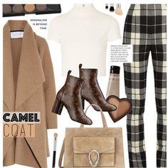 Camel Coat by noviii on Polyvore featuring moda, Alice + Olivia, Harris Wharf London, MaxMara, Gucci, Too Faced Cosmetics and Grown Alchemist
