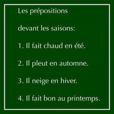 prépositions + saisons
