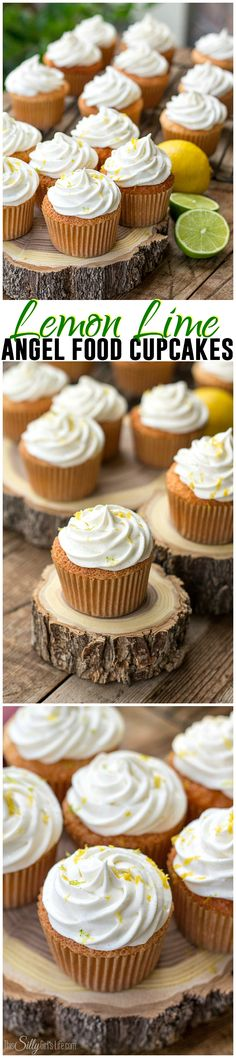 Lemon Lime Angel Food Cupcakes - Light as air homemade angel food cupcakes and whipped frosting, flavored with lemon and lime zest!