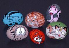 Cartoon Cats - Painted rocks