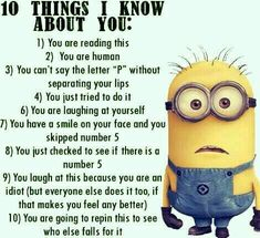 No matter how many times you watch the funny faces of these minions each time they look more funnier…. So we have collected best Most funniest Minions images collection . Read Minions images with Quotes-Humor Memes and Jokes Funny Minion Pictures, Funny Minion Memes, Crazy Funny Memes, Minions Quotes, Really Funny Memes, Funny Relatable Memes, Haha Funny, Funny Texts, Minions Images