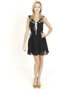 Black Dresses - Ruffle Contrast Chiffon Black Dress - http://www.blackdresses.co.uk
