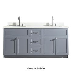 ARIEL Hamlet Gray Double Sink Bathroom Vanity with White Quartz Top at Lowe's. Give your bathroom decor a makeover with a modern bathroom vanity from ARIEL. The Hamlet series offers granite or quartz countertops mounted above solid Double Sink Bathroom, Double Sink Vanity, Bathroom Vanity Tops, Vanity Sink, Bath Vanities, Modern Bathroom, Bathroom Ideas, Bathroom Interior, Master Bathrooms