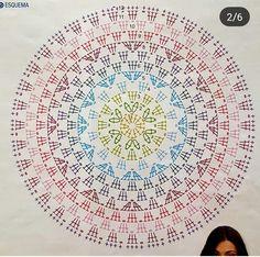 Best 10 Crochet Mandala + Diagram + Free Pattern Step By Step – SkillOfKing. Motif Mandala Crochet, Crochet Doily Diagram, Crochet Wool, Crochet Circles, Crochet Doily Patterns, Crochet Pillow, Crochet Round, Crochet Chart, Crochet Stitches
