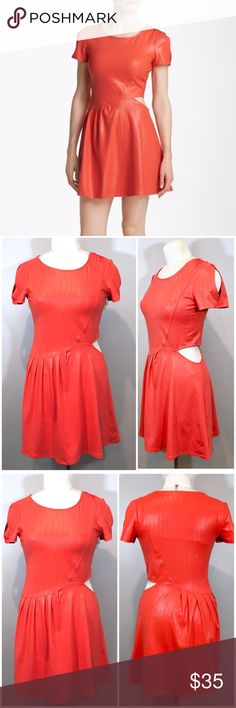 """LEITH Nordstrom Skater Dress Orange Shimmer Size S Up for sale in excellent preowned condition LEITH Nordstrom Skater Dress Orange Shimmer. Size S. Check out my closet, bundle and give me your offer!  Measurements:  Top to Bottom:  31"""" Bust Area:  16"""" Waist:  14"""" All measurements are approximate and taken flat in the front only.  Please be advised that color of the item might vary from screen to screen. Leith Dresses"""