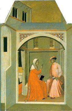 Lorenzetti Pietro - Pala Beata Umiltà: Umiltà e suo marito Ugolotto decidono di separarsi per vivere una vita santa - 1341 circa - tempera e oro su tavola - Galleria degli Uffizi, Firenze
