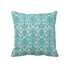 French Ornament Vintage Floral Damask Blue, White Throw Pillow