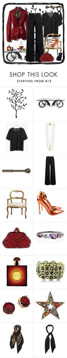 """Some nights, you'd rather stay in with the cat."" by winscotthk ❤ liked on Polyvore featuring Jonathan Adler, White House Black Market, Madewell, Rosantica, Umbra, J.W. Anderson, Currey & Company, Gianvito Rossi, Dolce&Gabbana and Alexis Bittar"
